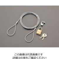 エスコ 2.0mパソコンセキュリティワイヤーロック(南京錠タイプ) EA983TS-4 1セット(3セット) (直送品)
