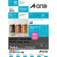 エーワン ラベルシール 超耐水 インクジェット 光沢フィルム 透明 A4 27面 1袋(3シート入) 30627 (取寄品)(取寄品)