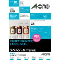 エーワン ラベルシール 超耐水 インクジェット 光沢紙 白 A4 ノーカット1面 1袋(10シート入) 64201 (取寄品)(取寄品)