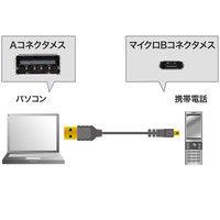 サンワサプライ 極細マイクロUSBケーブル A-マイクロBタイプ ブラック 1m USB2.0 KU-SLAMCB10 1本 (直送品)