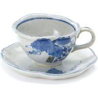 ブルーム 美濃焼 手描きぶどう一客碗皿10.5x10x6cm 1セット 3枚(1箱(1客)×3)(直送品)