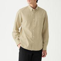 無印良品 新疆綿洗いざらしオックスボタンダウンシャツ 紳士 L ライトベージュ 良品計画