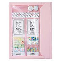 FLATTY(フラッティ)+KITTA 缶バッジ付 ロハコ限定セット ピンク バッグインバッグ マスキングテープ キングジム