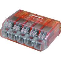 ニチフ端子工業 ニチフ クイックロック 差込形電線コネクタ 極数5 橙透明 50個入 QLX 5 1箱(50個) 123-1155(直送品)