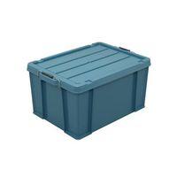 エスコ(esco) 624x450x330mm 収納ケース(バックル付/ブルーグリーン) 1セット(2個) EA506AB-47A(直送品)