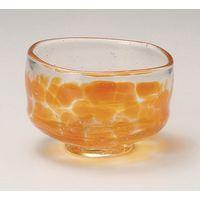 みのる陶器 吹ガラス 抹茶&小鉢 オレンジ 4965583883722 1セット(2個入)(直送品)