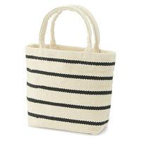無印良品 インドの手織り ミニトートバッグ(ボーダー) 生成×ボーダー 良品計画