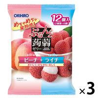 ぷるんと蒟蒻ゼリー パウチ ピーチ+ライチ 12個入×3袋 オリヒロ 栄養補助ゼリー