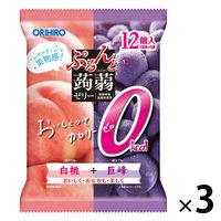ぷるんと蒟蒻ゼリー パウチ カロリーゼロ 白桃+巨峰 12個入×3袋 オリヒロ 栄養補助ゼリー