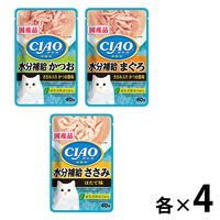 【水分補給セット】いなば チャオ パウチ 国産 12袋(3種×4袋)