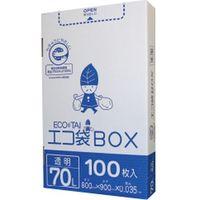 サンキョウプラテック 70L箱タイプ0.035厚100枚 透明 HK-780 400枚入(1箱100枚入り×4箱)(取寄品)