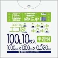 サンキョウプラテック 100L 10枚0.020mm厚 半透明 HDPE素材 KN-103 500枚入(1袋10枚入り×50袋)(取寄品)