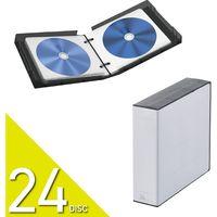 Blu-ray DVD CD対応クリアケース ファイル 24枚収納 不織布 インデックスラベル付 クリア黒 CCD-FBB24BK エレコム 1個(直送品)