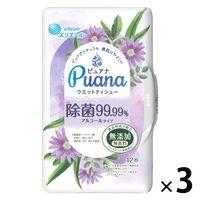ウェットティシュー 本体 1パック(42枚入×3個) エリエール ピュアナ(Puana)除菌99.99% 大王製紙