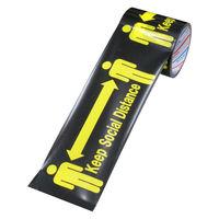【養生テープ】標示テープ ソーシャルディスタンス 幅100mmx長さ10m パイオランクロス粘着テープ 1セット(5巻:1巻×5)