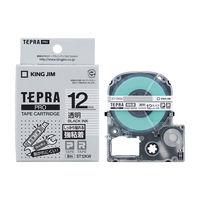 キングジム テプラ PROテープ 強粘着 12mm 透明ラベル(黒文字) 1個 ST12KW