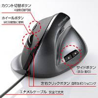 サンワサプライ 有線エルゴレーザーマウス