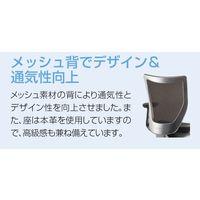 アイリスチトセ BITシリーズ オフィスチェア 背:メッシュ 座:本革 肘付 ブラック BIT-FSX45M2-BK 1脚 (直送品)