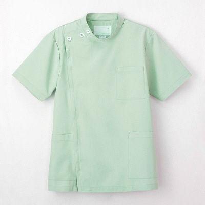 ナガイレーベン 男子横掛半袖 (医務衣 ケーシージャケット) 医療白衣 ミストグリーン LL KES-5167