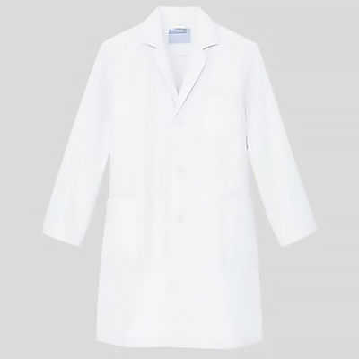 KAZEN メンズ診察衣(ハーフ丈) ドクターコート 医療白衣 薬局衣 長袖 オフホワイト シングル L 251-90 (直送品)