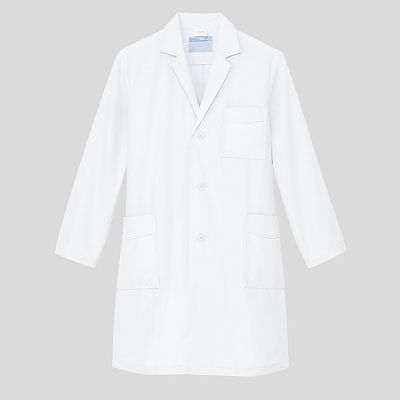 KAZEN メンズ診察衣(ハーフ丈) ドクターコート 医療白衣 薬局衣 長袖 オフホワイト シングル LL 251-90(直送品)