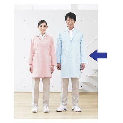 KAZEN メンズ診察衣(ハーフ丈) ドクターコート 医療白衣 薬局衣 長袖 サックスブルー(水色) シングル L 251-91 (直送品)