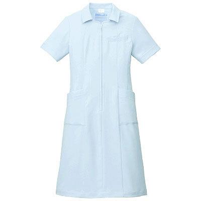 KAZEN ワンピース半袖 (ナースワンピース) 医療白衣 サックスブルー(水色) 3L 003-21 (直送品)