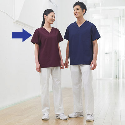 KAZEN カラースクラブ(男女兼用) 医療白衣 半袖 プラム 4L 133-95 (直送品)