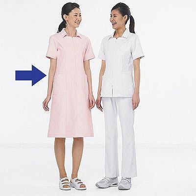 KAZEN ワンピース半袖 (ナースワンピース) 医療白衣 ピンク L 003-23 (直送品)