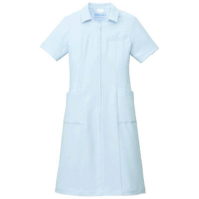 KAZEN ワンピース半袖 (ナースワンピース) 医療白衣 サックスブルー(水色) L 003-21 (直送品)