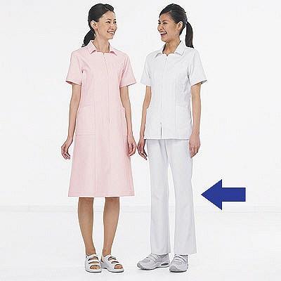 KAZEN レディススラックス 医療白衣 ホワイト L 194-20 (直送品)