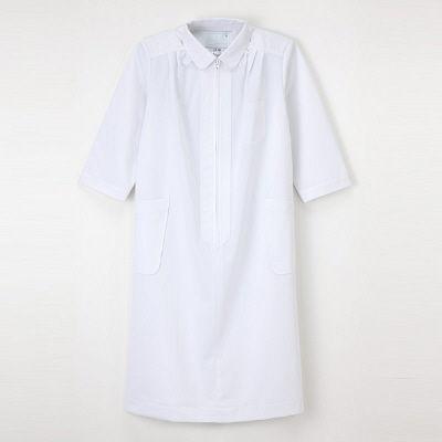 ナガイレーベン ナースワンピース(マタニティ)7分袖 HS-986 ホワイト M (取寄品)