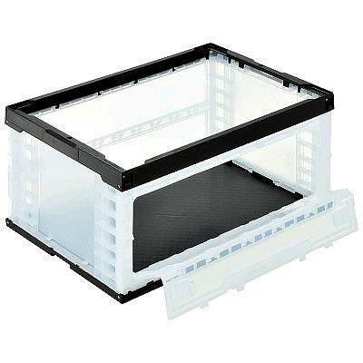 サンコー 折りたたみコンテナ 75シリーズ(片長辺扉付) フタ無 74L ブラック 1セット(10個:5個入×2箱)