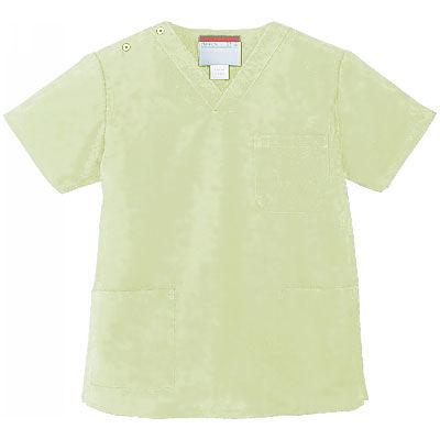 KAZEN カラースクラブ(男女兼用) 医療白衣 半袖 ミントグリーン S 133-96 (直送品)