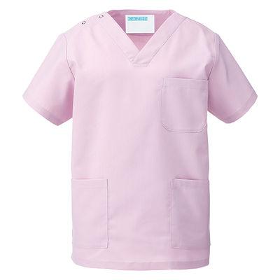 KAZEN カラースクラブ(男女兼用) 医療白衣 半袖 ローズ L 133-97 (直送品)