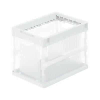 アスクル「現場のチカラ」 軽量薄型折りたたみコンテナ フタ無 20L ホワイト 1セット(100個:5個入×20箱)