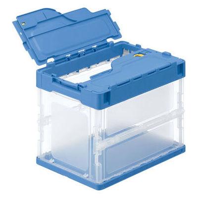 アスクル「現場のチカラ」 軽量薄型折りたたみコンテナ フタ一体型 20L ブルー 1セット(100個:5個入×20箱)
