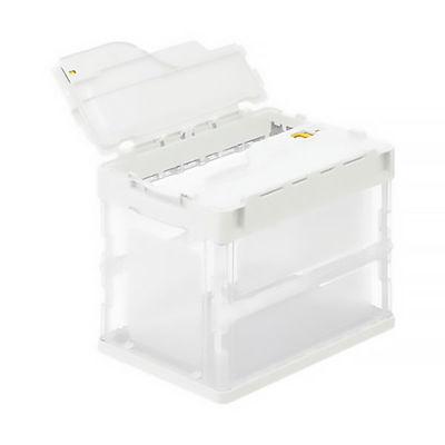 アスクル「現場のチカラ」 軽量薄型折りたたみコンテナ フタ一体型 20L ホワイト 1セット(100個:5個入×20箱)