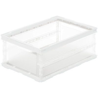 アスクル「現場のチカラ」 軽量薄型折りたたみコンテナ フタ無 35.5L ホワイト 1セット(100個:5個入×20箱)