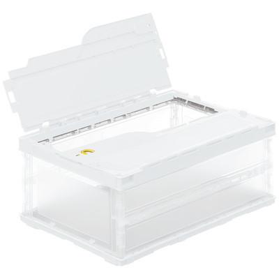 アスクル「現場のチカラ」 軽量薄型折りたたみコンテナ フタ一体型 34.1L ホワイト 1セット(100個:5個入×20箱)