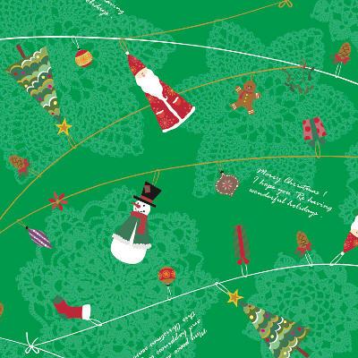 ササガワ 包装紙 エーデルグリーン 半才判 【クリスマス】 49-3021 1包(50枚)