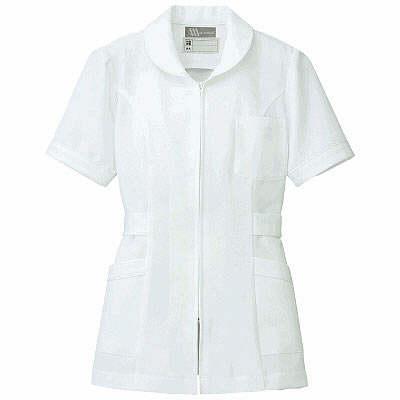 AITOZ(アイトス) ナースジャケット(パイピング) 女性用 半袖 ホワイト 4L 861338-001 (直送品)