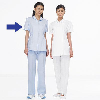AITOZ(アイトス) ナースジャケット(パイピング) 女性用 半袖 サックスブルー 5L 861338-007 (直送品)