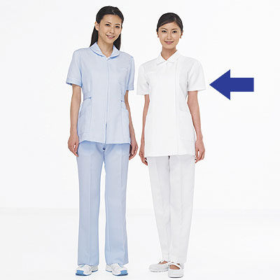 AITOZ(アイトス) ナースジャケット(ベーシック) 女性用 半袖 ホワイト 5L 861346-001 (直送品)