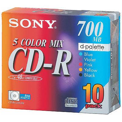 ソニー CD-R 700MB カラーMIX 5MMプラケース 10CDQ80EXS 1パック(10枚)