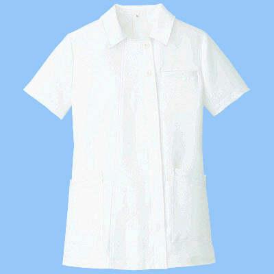 AITOZ(アイトス) オープンネックチュニック(ナースジャケット) 半袖 ホワイト 3L 861369-001 (直送品)