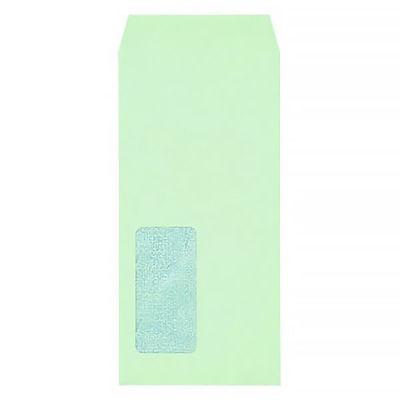 今村紙工 透けない窓付き封筒 長3 グリーン MD-03 200枚(20枚×10袋)