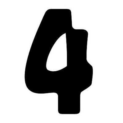 タカ印 アドポップ 数字 黒抜き 4 23-284 1箱(240片(30片×8シート)入×10冊) (取寄品)