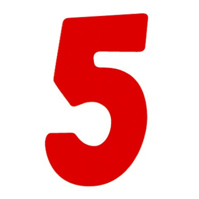 タカ印 アドポップ 数字 赤抜き 5 23-85 1箱(300片(30片×10シート)入×10冊) (取寄品)