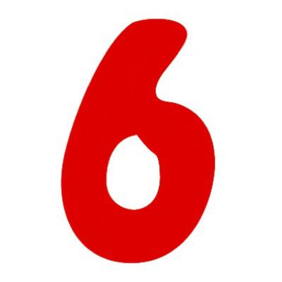 タカ印 アドポップ 数字 赤抜き 6 23-86 1箱(300片(30片×10シート)入×10冊) (取寄品)